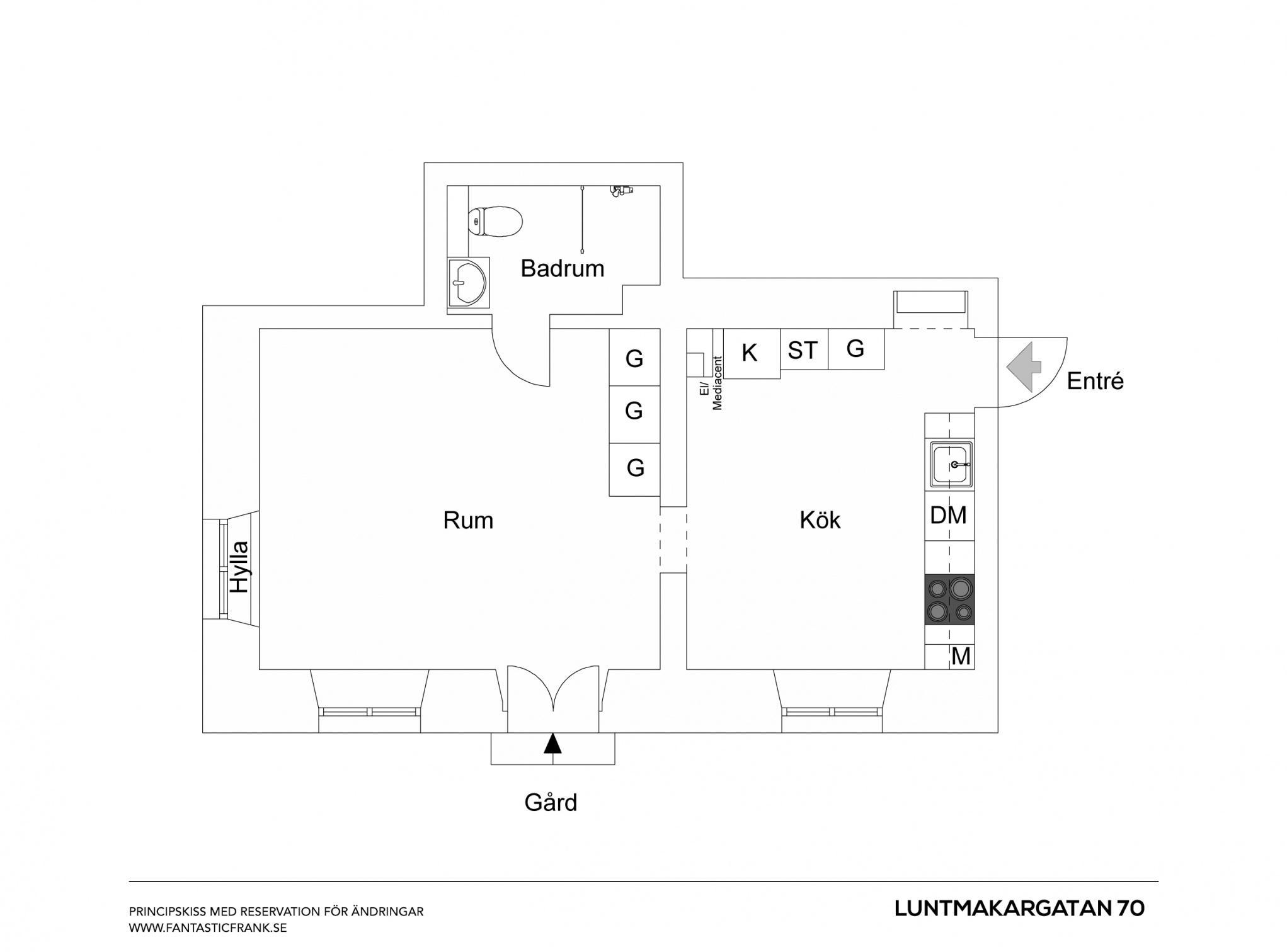 Floorplan of small Stockholm apartment