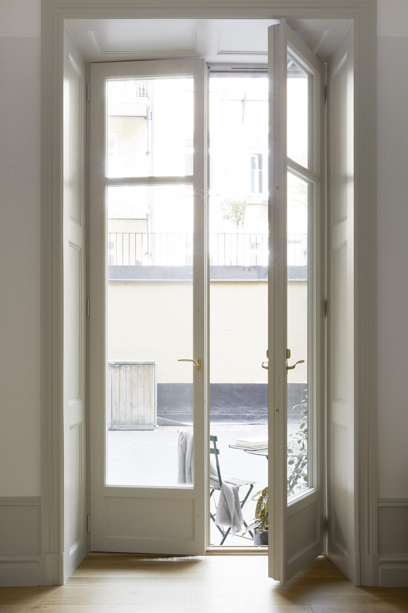 French doors to patio of Stockholm apartment